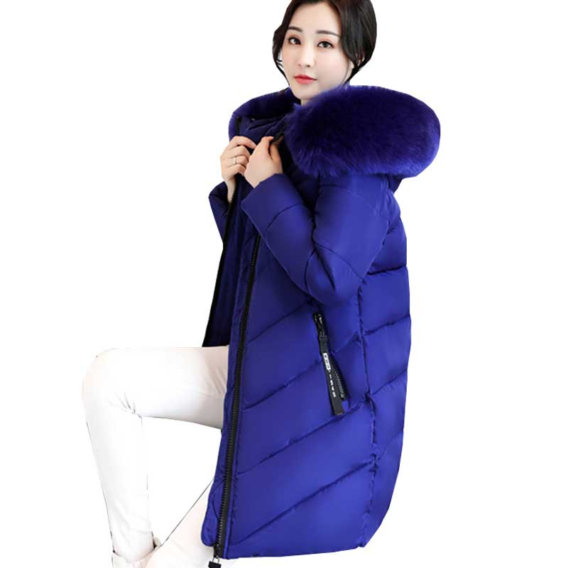 Épais Grand col De Fourrure veste d'hiver femmes 2018 Nouvelle Ukraine 6XL Plus La taille des femmes vers le bas vestes À Capuchon Long Manteau Femelle parkas 274