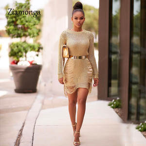 c0895d5d Ziamonga Gold Knitted Sweater Dress Sexy Sequins Beach