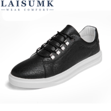LAISUMK New Summer Comfortable Casual Shoes Mens Leather For Men Lace-Up Brand Fashion Flat Loafers Lightweight