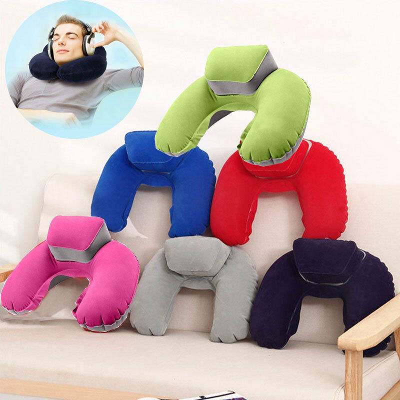 Drop Ship Foldable U-shaped Neck Support Pillow Inflatable Cushion Memory Foam Travel Pillow Neck Super Soft Pillows Air Plane