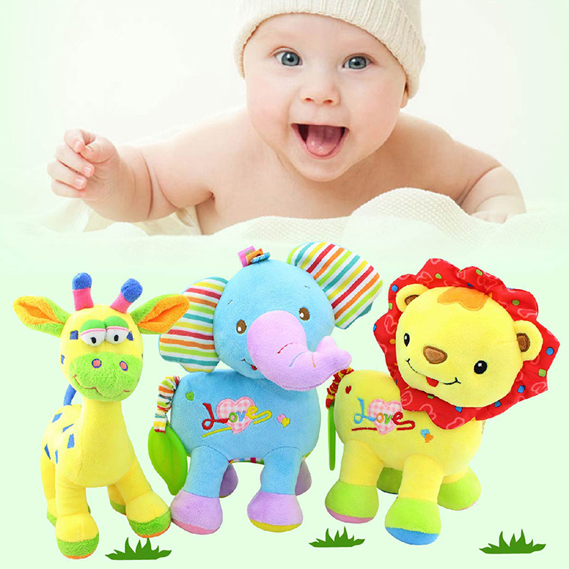 High Quality 24CM Kawaii Deer Elephant Lion Baby Stuffed Plush Toys Mobile Rattle Soothing Toy Peluche Juguetes