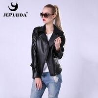 JEPLUDA New Fashion Women's Leather Jacket Women's Leather Coat Sheepskin Cable Zipper The Pilot Genuine Leather Jacket Women
