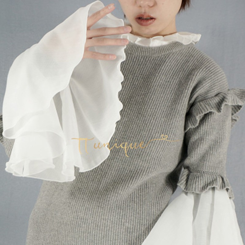 Street Eye Exaggerated Korean Trumpet Sleeve Play Decorative Shape Fake Sleeve Fake Arm Sleeves Decorated Cuffs Pearl