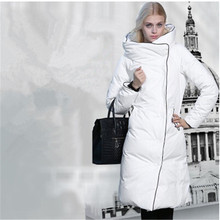 2015 зима женщины белый пуховик парки x-долго 3 цвета S ~ L стенд цвет широкий талией толстые Femininos пиджаки пальто LW340