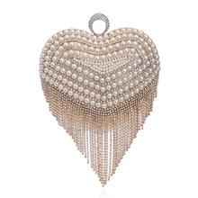 Fashion beautiful heart-shaped pearl crystal messenger bags high-end banquet star luxury nightclub dress evening bag handbag