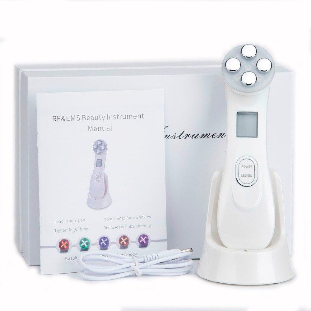 5in1 RF y EMS Radio mesoterapia electroporación cara belleza pluma Radio Frecuencia LED fotón cara piel rejuvenecimiento removedor de arrugas