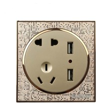 86 Type Champagne Gold Wall Switch Socket Panel  Five Holes + USB Dual PC220V 10A