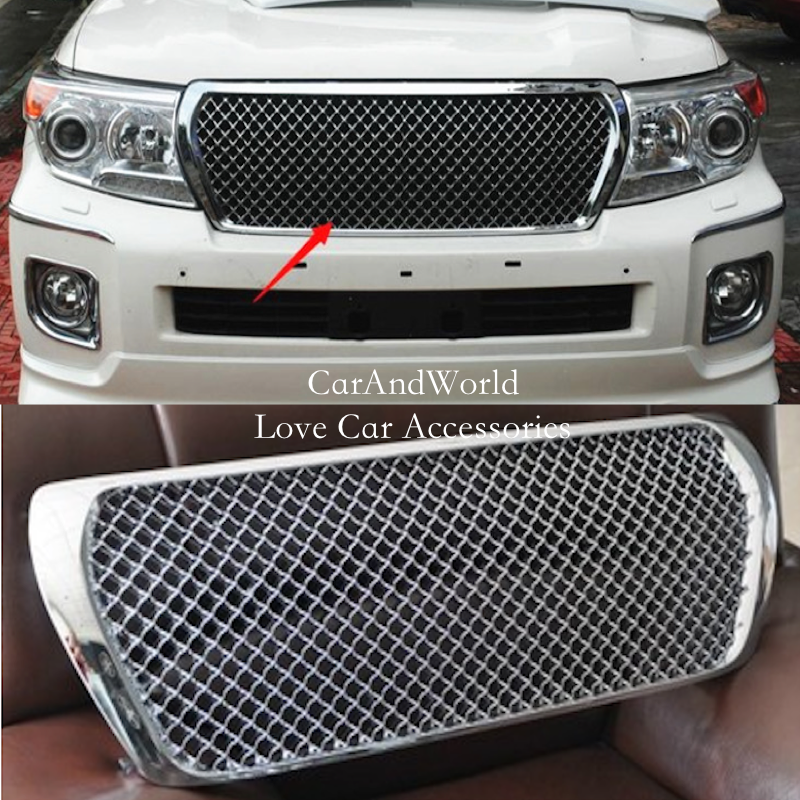 For 2012 - 2015 Toyota Land Cruiser 200 FC200 V6 Front Bumper Grille Grill Cover Protector Trims Chrome Car Styling Accessories front center grille grill cover trims for toyota senna 2011 2012 2013 2014 2015
