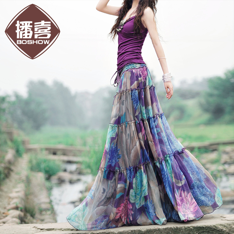 c0f3f7d3ce5   LYNETTE S CHINOISERIE - BOSHOW   Summer Original Design Women Fairy Tale  Purple Chiffon Maxi Skirt