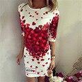 2016 Summer vestidos de partido atractivo del Club Bodycon vaina Casual elegante vestido de la impresión del Vintage corazón rojo encantador de la túnica de gala