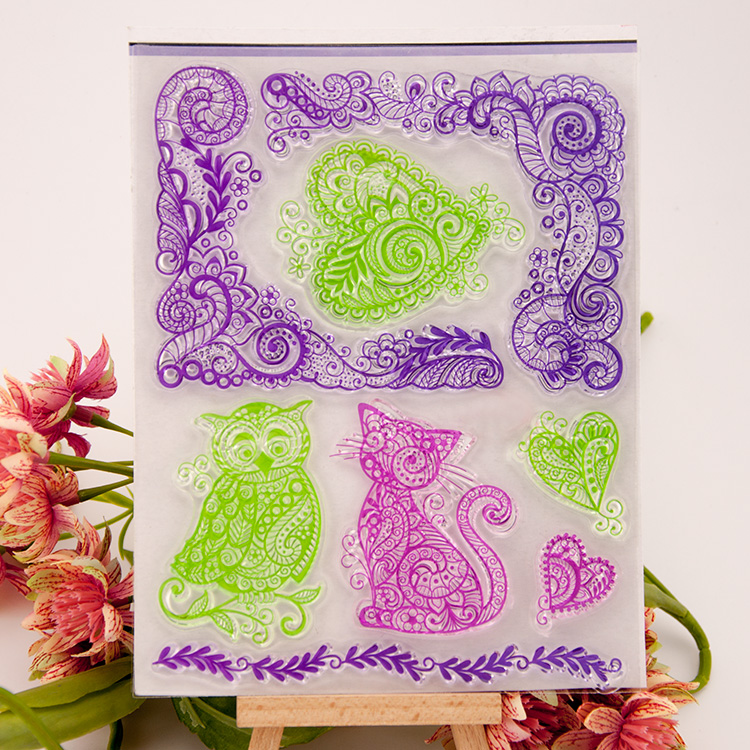 LOVE Heart CAT OWL Clear stamp Scrapbook DIY Photo Album Card Hand Account Rubber Product Transparent Seal Stamp animal pattern model building kits compatible with lego city football 200 3d blocks educational model