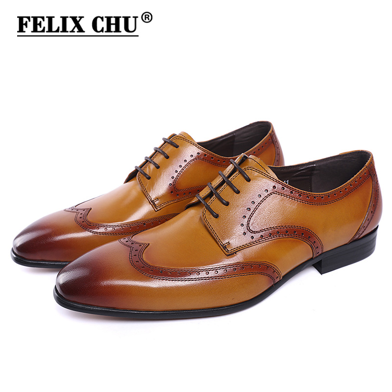 FELIX CHU New Genuine Leather Lace Up Men Wingtip Brogue Shoes Black Yellow Office Party Wedding Suit Formal Derby Shoes felix chu luxury mens dress shoes genuine leather pointed toe brogue derby shoes green black male lace up formal shoes leather