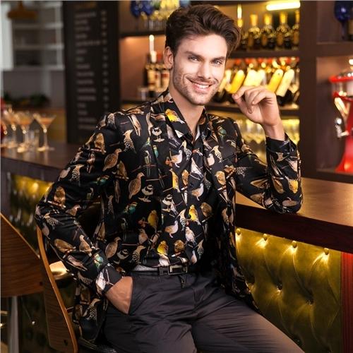 2016 Chaqueta Para Hombre Brid Cena Vestidos de Impresión Digital de Patrón de Calidad de Moda de Lujo Trajes de Vestir Exteriores Ocasional Slim Fit Vestido Curto