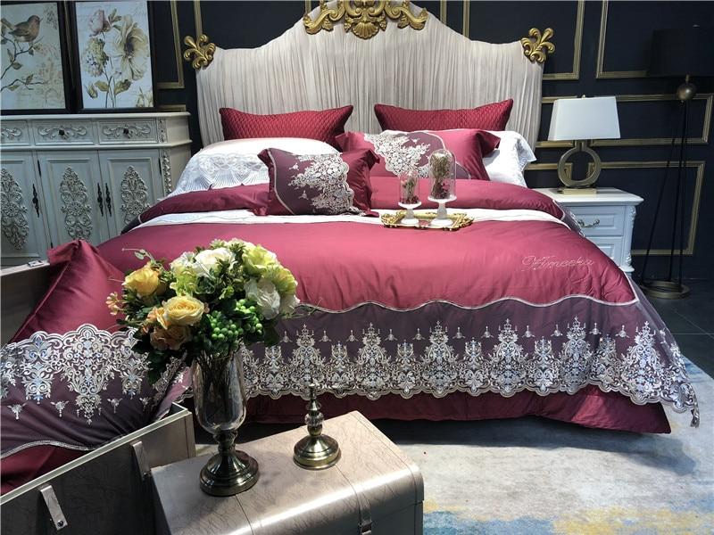 Haut de gamme luxe vin rouge Style français dentelle broderie coton égyptien ensemble de literie housse de couette linge de lit draps taies d'oreiller