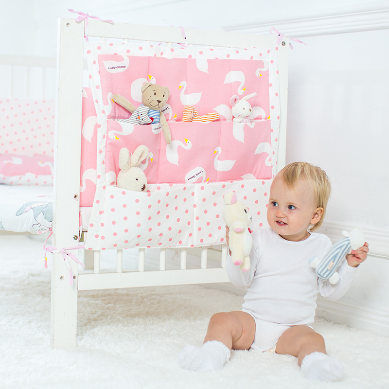 Promotion! muslin tree Brand Baby Cot Bed Hanging Storage Bag ,Crib Organizer 60*50cm Toy Diaper Pocket for Crib Bedding Set