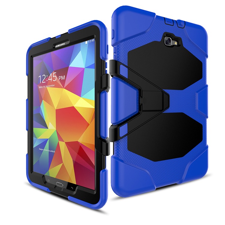 CaAmor Heavy Duty case For Samsung Galaxy Tab A A6 10.1 2016 T585 T580 Tablet case Soft Silicone+PC Back Cover Kickstand Case