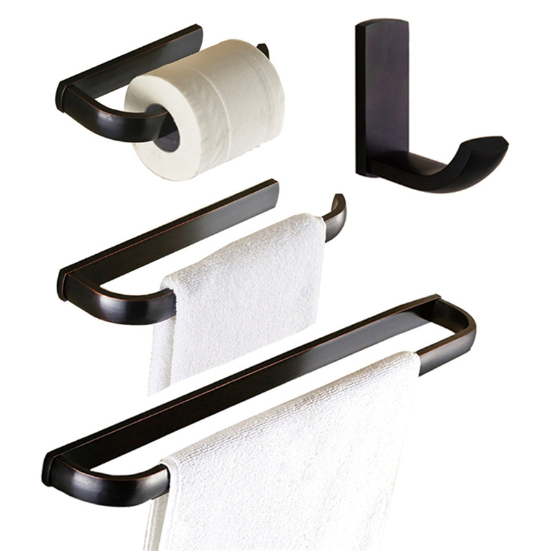 Leyden Toilet Paper Holder Clothes Hook Towel Bar Towel Ring Wall Mounted Bath Hardware Sets Copper Bathroom Accessories Black fully copper bathroom towel ring holder silver