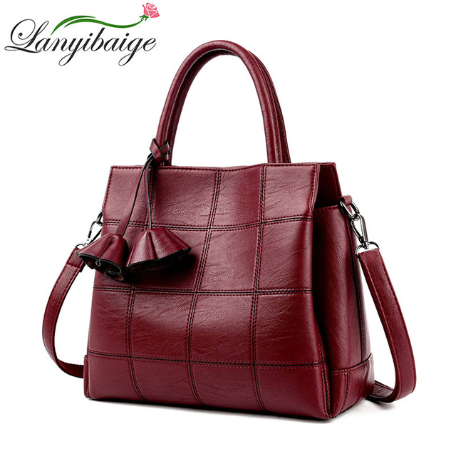 2addd33b05 Fashion Plaid Leather Women Bags Handbags Women Famous Brands 2018 Luxury  Designer Rose Female Shoulder Bag Ladies Sac a Main