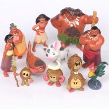 Hot 12Pcs Set Moana Action Figures Toys Heihei Tamatoa Chief Tui Sina Tala Gift Doll Plastic