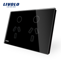 Livolo Australia Standard Double Power Socket Black Crystal Glass Panel AC 110 250V Wall Power Socket