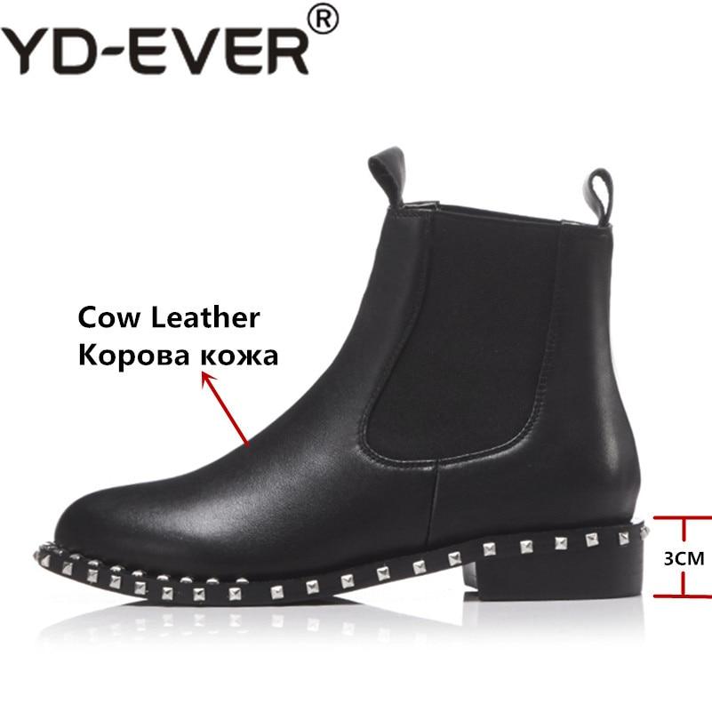 ever Bout Automne Black Yd Chaud Hiver Femmes Short Boots Boots Véritable Haute Genou Punk Femme En Chaussures black Bottes Rivet Arrivée High Nouvelle Rond Hauts Talons Cuir dzwqw1WT0