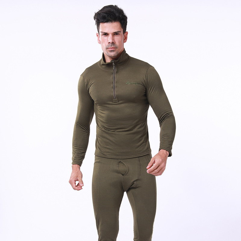 Tactical Training Mens Warm Underwear Suit Outdoor Hiking Hunting Windproof Thermal Fleece Shirt + Pants Sets Military Clothes