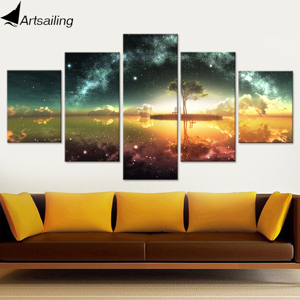 5 Piece Canvas Painting Summer Night Starry Sky Prints Hd
