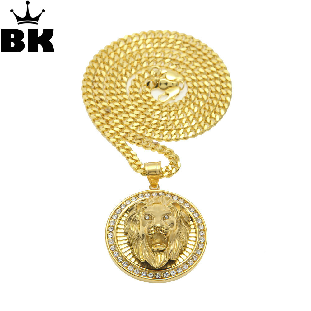 Mens Hip Hop Jewelry Iced Out Gold Color Fashion Bling Bling Lion Head Pendant Men Necklace Gold Filled For Gift/Present