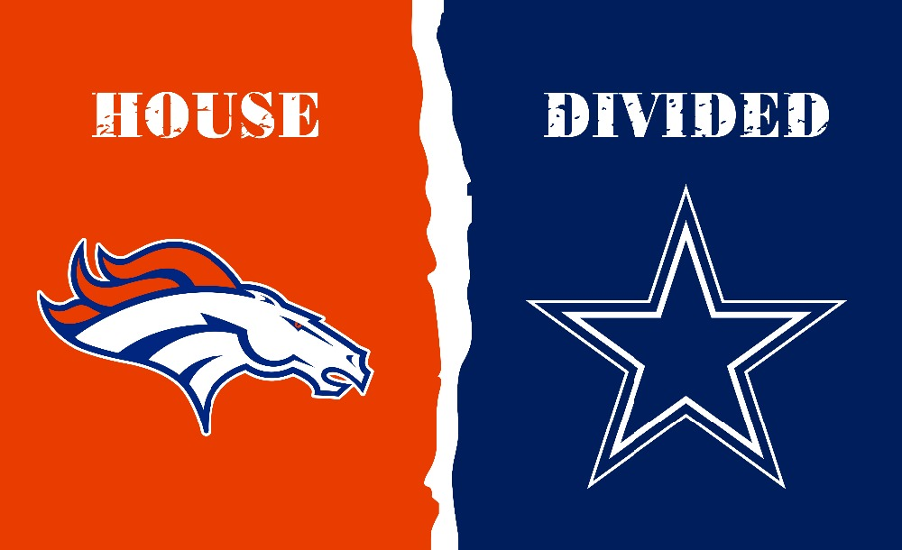 Denver Broncos VS Dallas Cowboys House Divided Rivalry Flag 3'*5' 100D Polyester free shipping