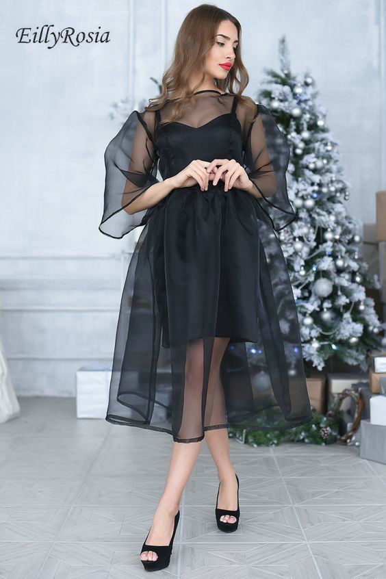 2019 Black Prom Dress Long Sleeve Tea-Length A Line See Through Sheer Tulle Sexy Evening Party Gowns Balo Elbiseler Gala Dress