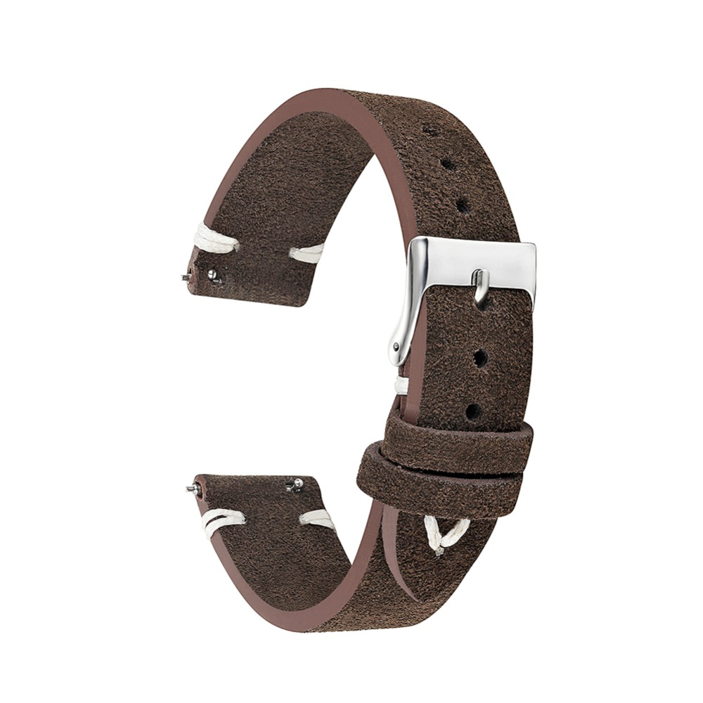 Watchband Soft Suede Leather Vintage Strap Replacement For Men Women Watch Band Coffee 18mm 20mm 22mm 24mm Watch Strap KZSD10
