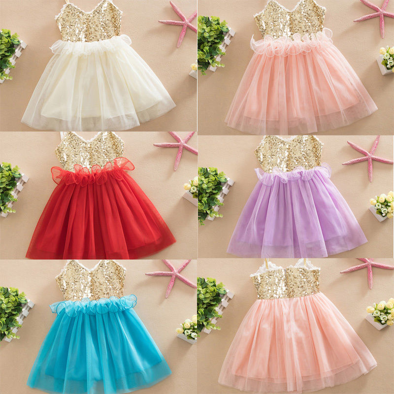 Summer Sequins Baby Girl Dress Lace Tulle Party Gown Formal Dresses Clothing Girls Vest Top Mesh Tutu Dress Wholesale lilac tulle open back flower girl dresses with white lace and bow silver sequins kid tutu dress baby birthday party prom gown