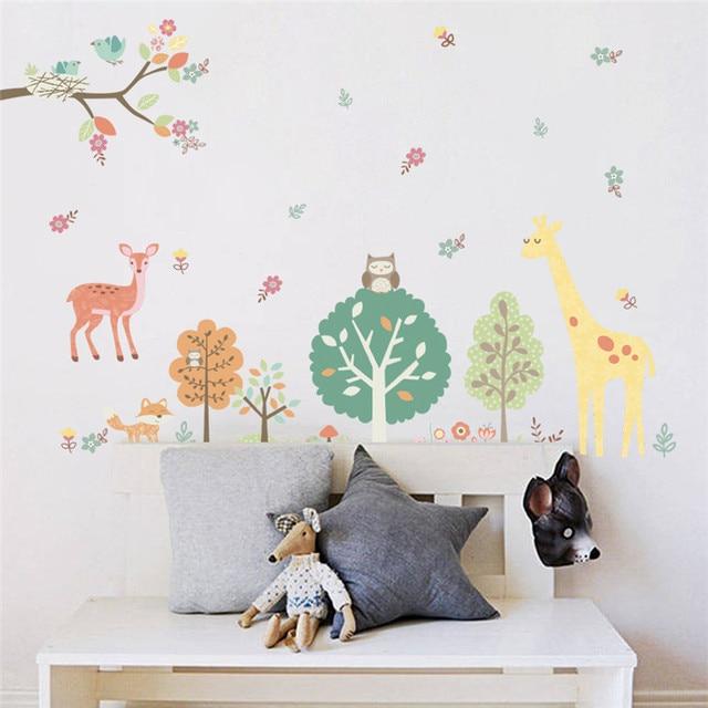 € 4.32 5% de réduction|Coloré forêt animaux girafe arbre stickers muraux  pour enfants chambre enfants stickers muraux pépinière chambre décor à la  ...