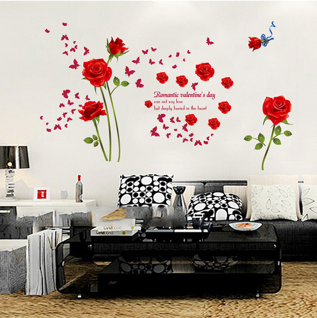 Red blue romantic roses large wall stickers flowers decals - Stickers muraux chambre adulte ...