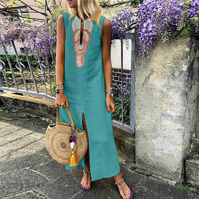 Summer Women Dress Female Printed Sleeveless V-neck Maxi Dress Casual Split Hem Baggy Kaftan Long Dress