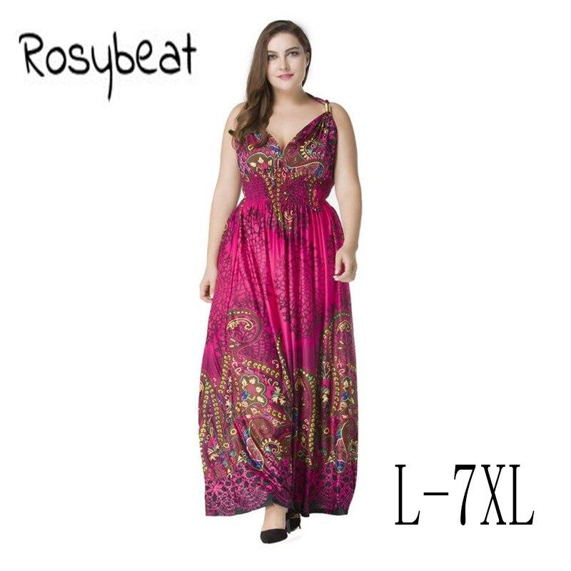 930a0cb92 Vestido Sexy con cuello en V para mujer talla grande 5XL talla grande ropa  de mujer playa Bohemia ...