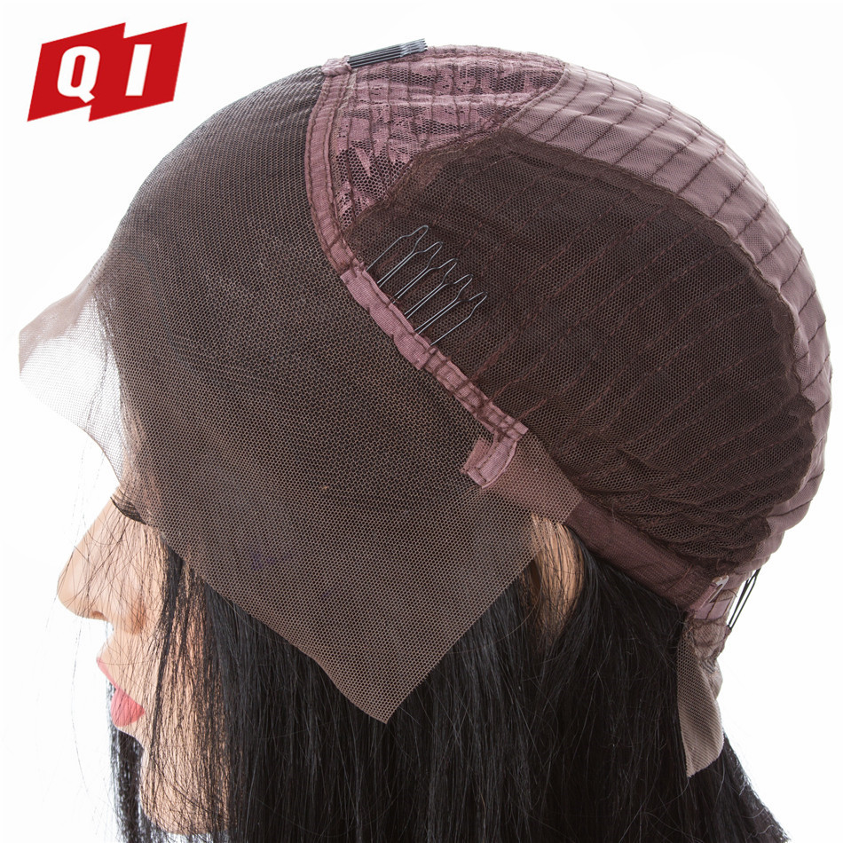 QI Hair Bob Wig Brazilian Straight Short Lace Front Human Hair Wigs For Black Women Pre Plucked With Baby Hair Remy Hair