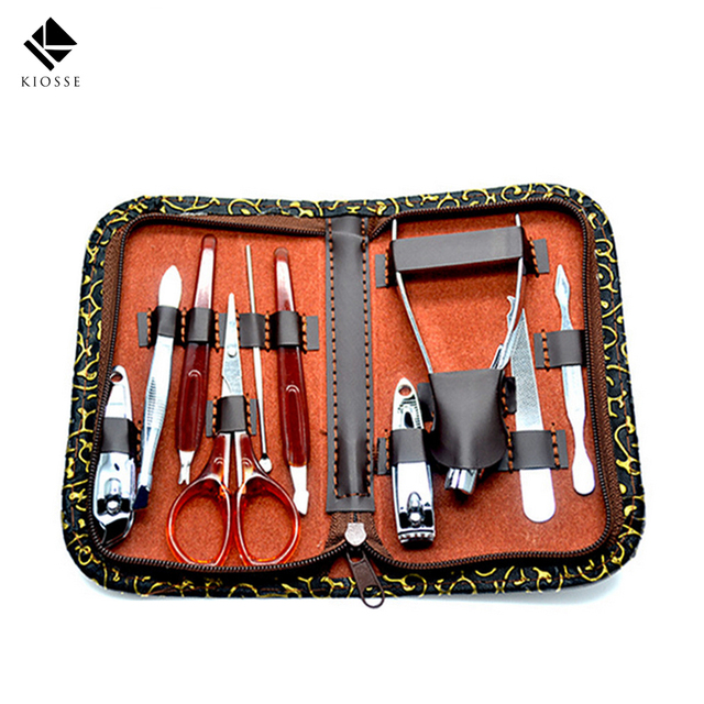 10pcs Set Nail Art Tools For Manicure Nails Clipper Scissors Tweezer Knife Utility
