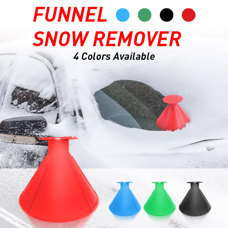 1PC Car Windshield Snow Shoveling Brush Fuel Funnel Automobile Glass Snow Remover Cone Ice Scraper Remover Deicing Tool(China)