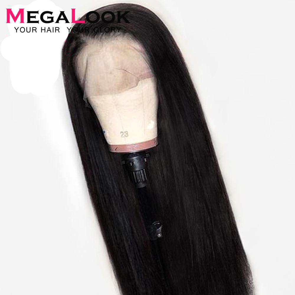 Straight Lace Front Human Hair Wigs For Women Black Color Peruvian Lace Wig Frontal Plucked Full Megalook Remy Hair