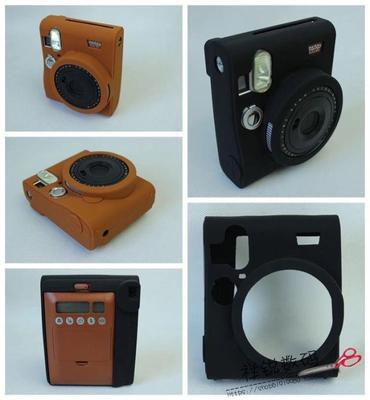 Silicone Rubber Camera Case Bag Cover For FUJIFILM Instax Mini 90 mini90 Color Black Light Brown
