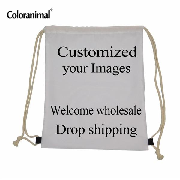 INSTANTARTS Customized Your Image Pattern Reusable Drawstring Bag Women Men Children Small School Backpack Bolsa Feminino