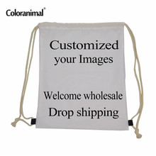 INSTANTARTS Customized Your Image Pattern Reusable Drawstring Bag Women Men Children Small School Backpack Bolsa Feminino Mujer