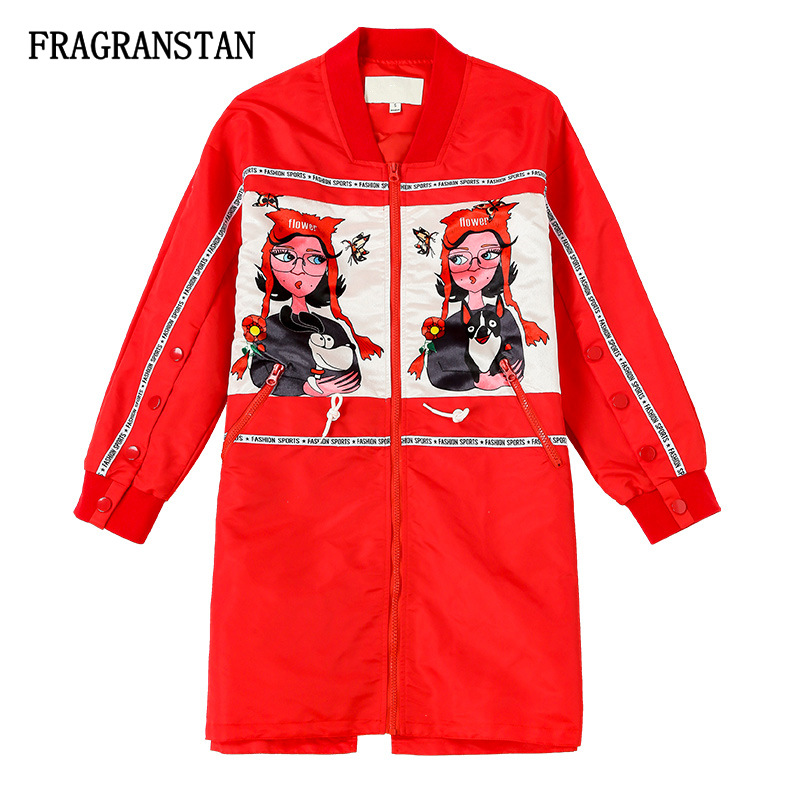 Women Spring Autumn Stand Collar Red Trench Coat Cartoon Print Casual Outerwear Female Plus Size Loose