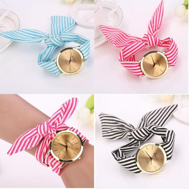 Stripe Floral Cloth Band Clock Dial Bracelet Quartz Wristwatch