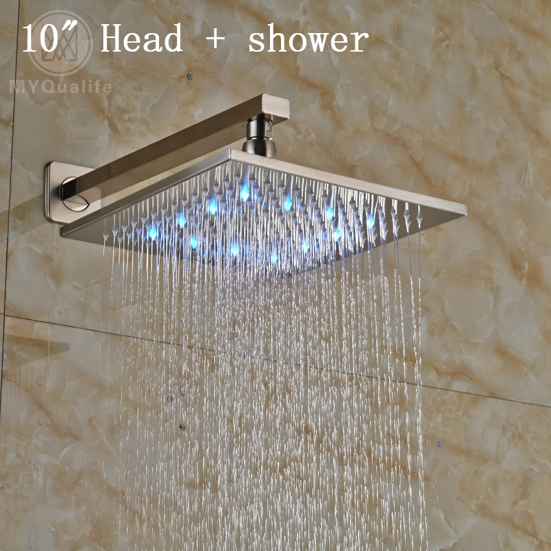 Brushed Nickel Newly LED Light Showerhead Stainless Steel Rainfall Shower Head with Shower Arm nickel brushed square 12 rainfall shower head bathroom stainless steel showerhead with shower arm
