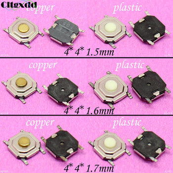cltgxdd 1pcs 4*4*1.5/1.6/1.7mm 4 pin Light touch micro switch SMD4 waterproof ON/OFF Touch switch button plastic or copper image