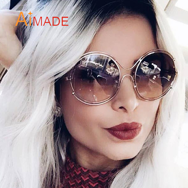 863efb07c57 Aimade Luxury Oversized Round Sunglasses Women Hollow Brand Designer Metal  Frame Retro Celebrity Eyewear Fashion Big