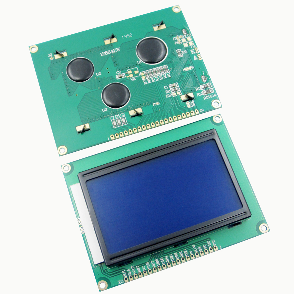 10pcs 128 64 DOTS LCD Module 5V Yellow and Green B Screen 12864 LCD with Backlight