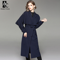 Autumn Winter Woman Trench Orange Dark Turquoise Navy Blue Long Trench Coat With Belt Cape Cloak